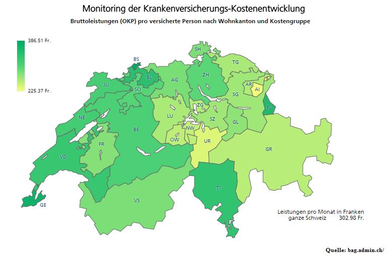Monitoring der Krankenversicherungs-Kostenentwicklung-Leistungen pro Versicherten in Franken