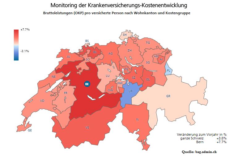 Monitoring der Krankenversicherungs-Kostenentwicklung  Veränderung gegenüber dem Vorjahr in